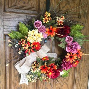 Fall Handmade Floral Wreath 20x20